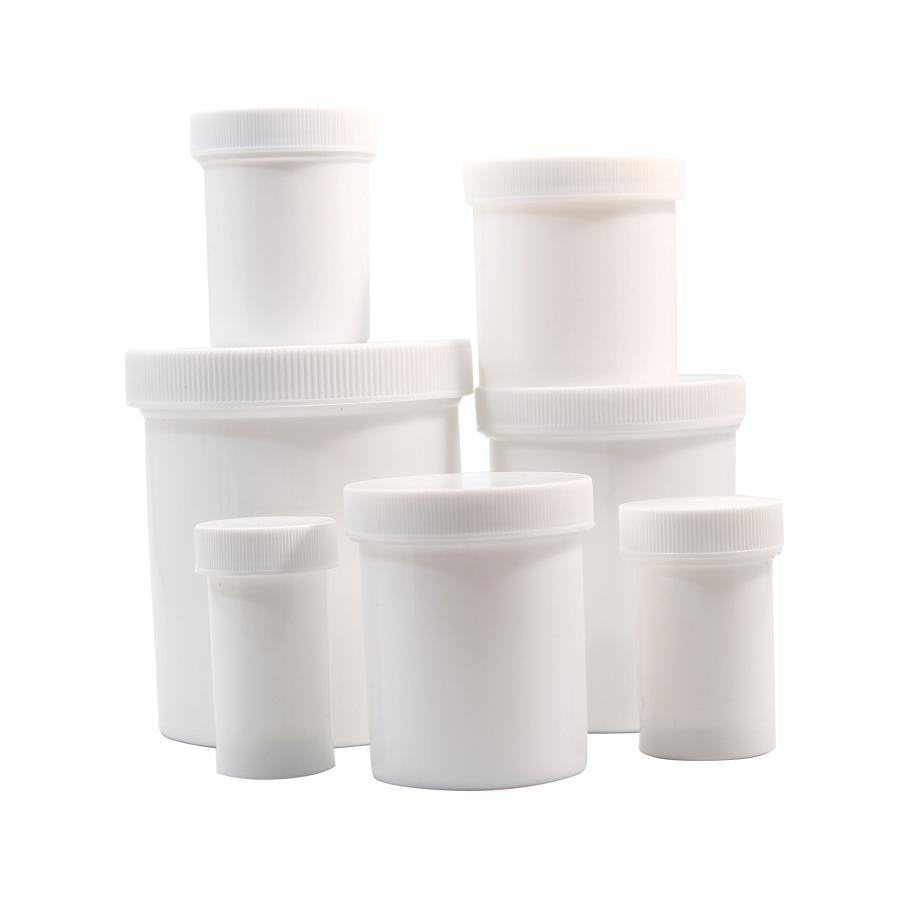 8oz White Plastic Ointment Jar