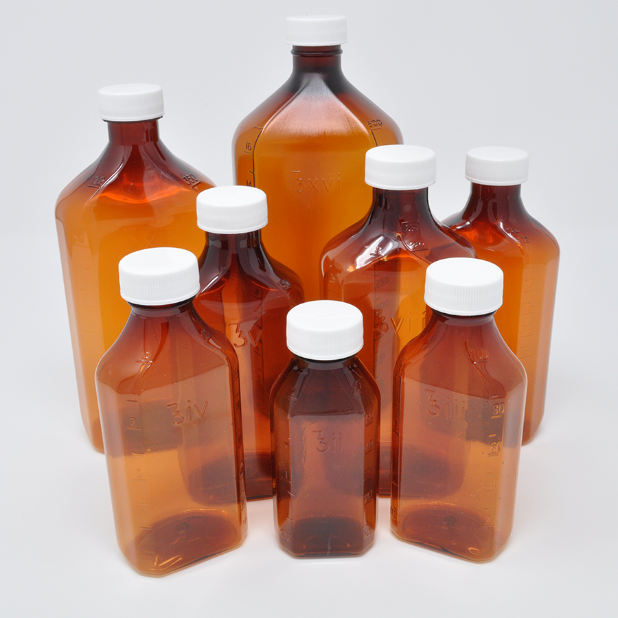 4oz PET Graduated Amber Prescription Bottle - Non-Safety