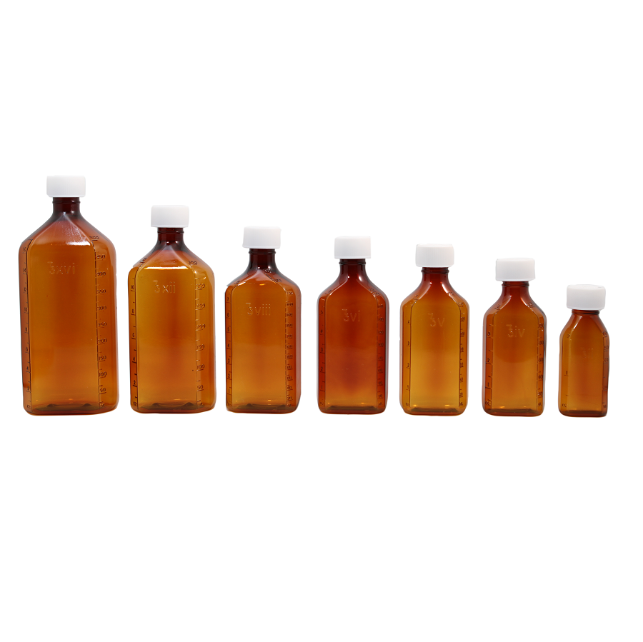 8oz PET Graduated Amber Prescription Bottle - Safety
