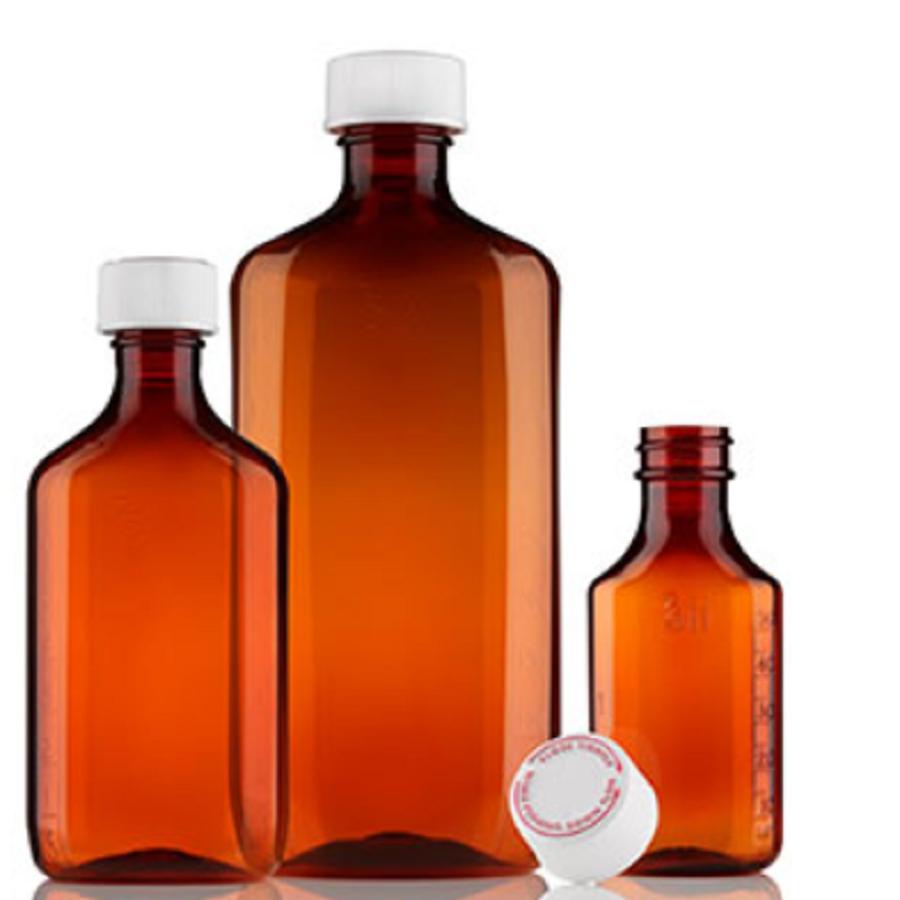 16oz RPET Centor Graduated Amber Prescription Bottle - Safety